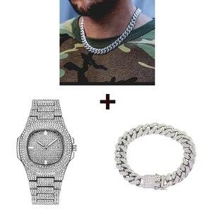 Ожерелье + часы + браслет, набор, хип-хоп, Майами, Снаряженная кубинская цепочка, украшенные стразами, CZ Rapper для мужчин, роскошные ювелирные из...