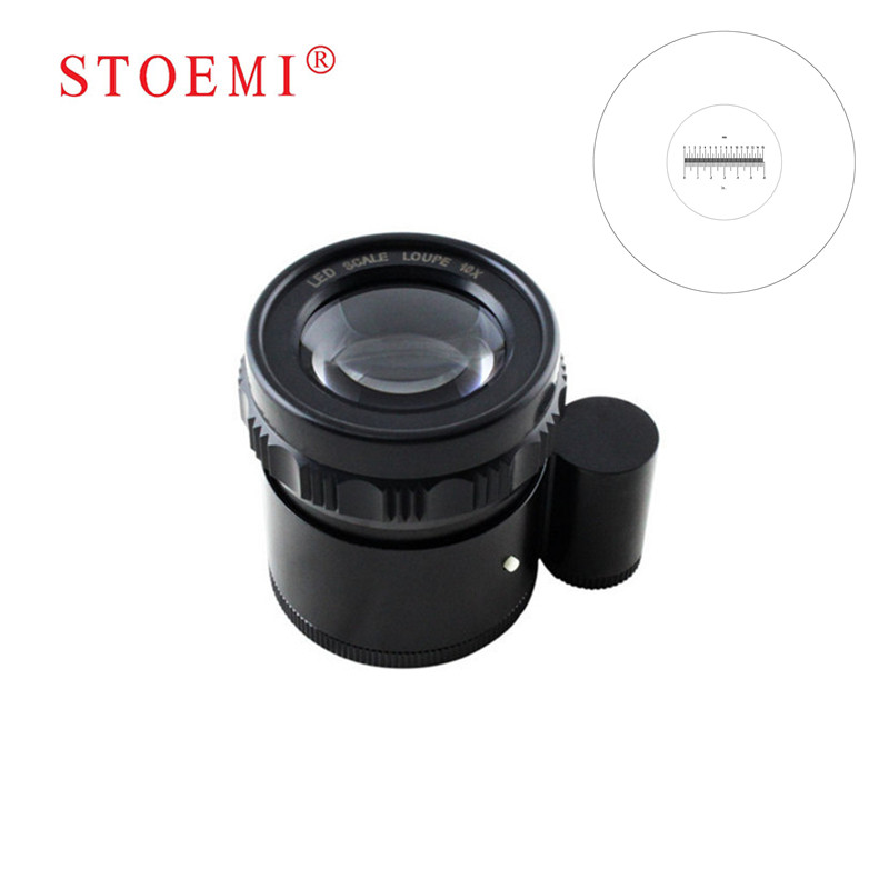 STOEMI 10X Portable Metal 8 LED Illuminated Focus Adjustable Cylindrical Loupe with Measure Scale Magnifier 6804-08