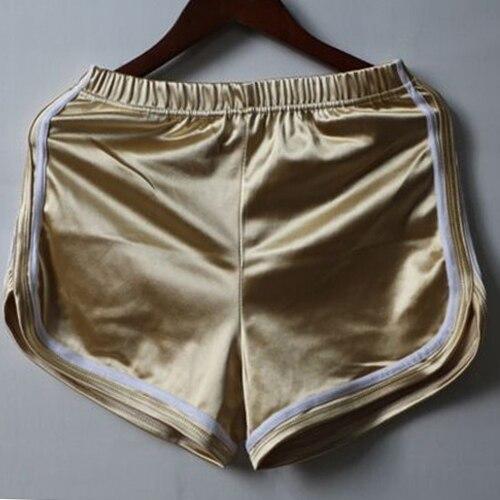 Новинка, женские шорты, летние, шелковые, тонкие, пляжные, повседневные, белые, Egde шорты, Хит - Цвет: Золотой