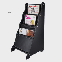ladder-shape wood leather floor magazine newspaper exhibition display rack shelf organizer holder black 251A