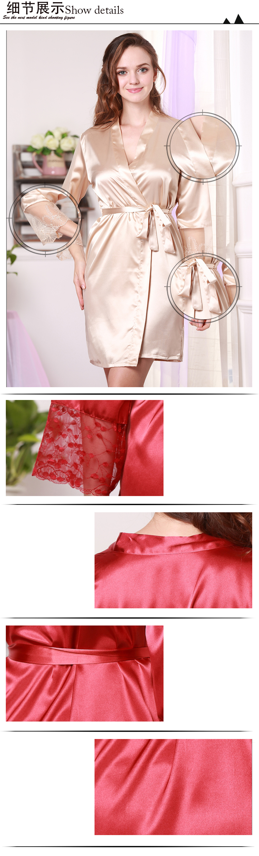 Silk Satin Kimono Robes For Women s Clothing Long Sleeve ... 187626e25f