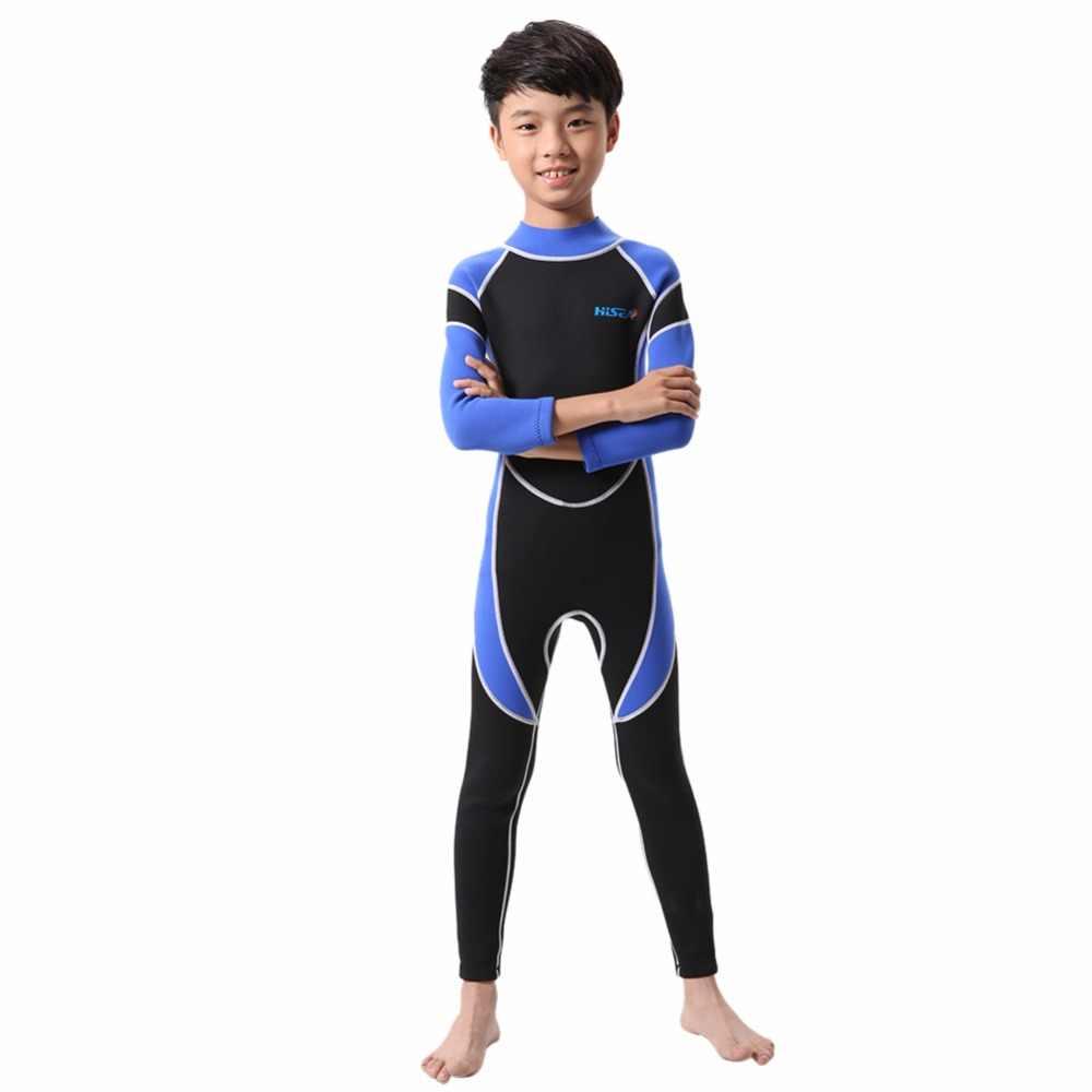 Surfing Ruam Luar Ruangan Anak Neoprene Menyelam Pakaian Selam Anak Satu Potongan Warna Tambal Sulam Lengan Panjang Baju Renang Setelan Menyelam
