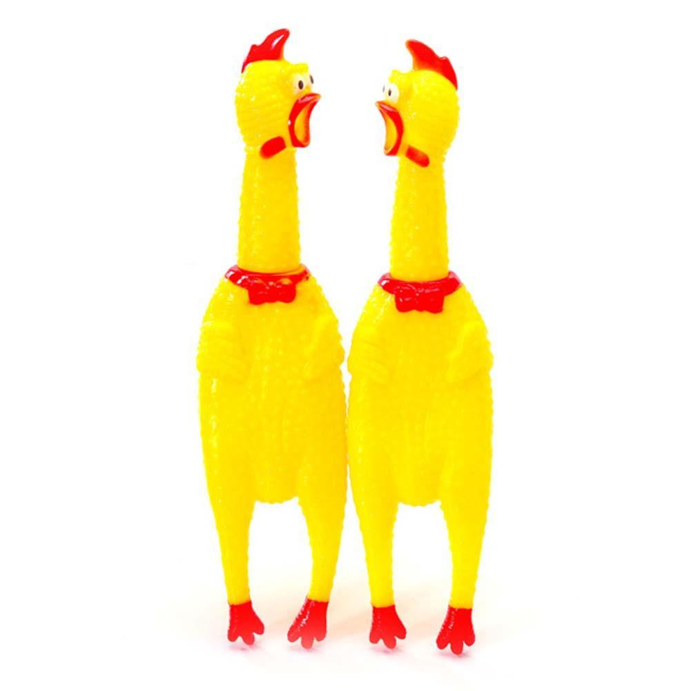 Novelty Screaming Rubber Chicken Squeeze Toys 16cm Sound Toy For ADHD Kids Adults Anti Stress Toy Shrilling Yellow Chickens