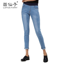 Lotus fairy Jeans for women pencil pants Elastic Waist Jeans with scratched Trousers for women Denim cuffs Freddy pants fashion