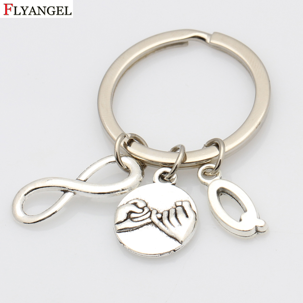 Silver Color Pinky Promise Pendant Keyring Keychain with Gigantic Chain Key Rings Women Men DIY Initials Key Chains Accessories