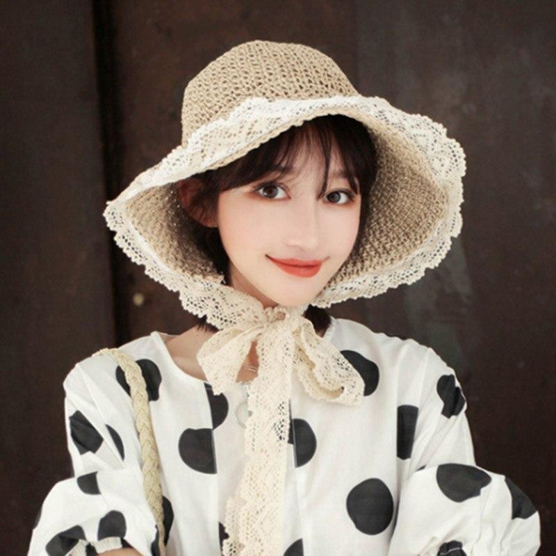 Женская соломенная шляпа MAERSHEI, Пляжная складная шляпа с бантом и кружевной лентой для путешествий, лето 2019