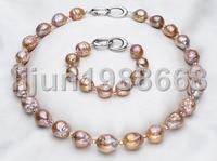12 14 мм пресноводный жемчуг reborn Кеши золото фиолетовый барокко ожерелье браслет
