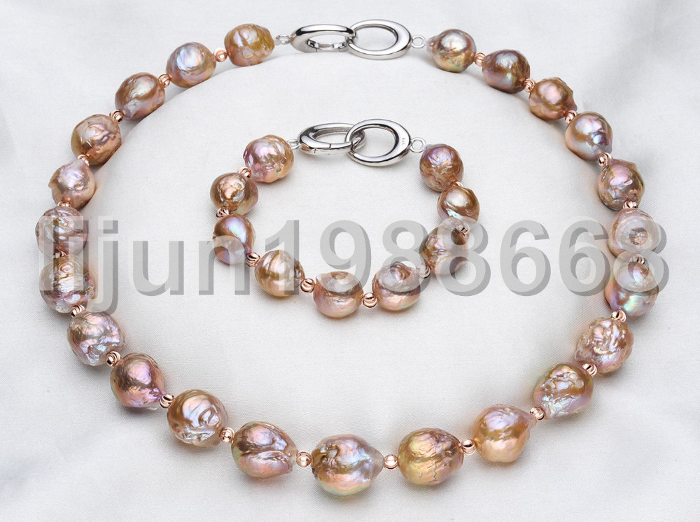 12-14mm perle d'eau douce reborn keshi or violet baroque collier bracelet ensemble