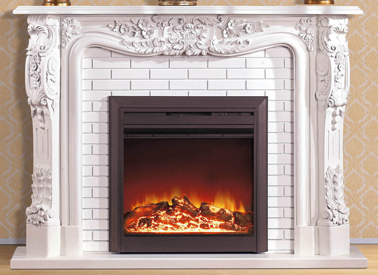 European Style Fireplace W150cm Wooden Mantel With Electric Fireplace Insert  Room Heater LED Artificial Optical Flame Decoration  Fireplace Heater Insert