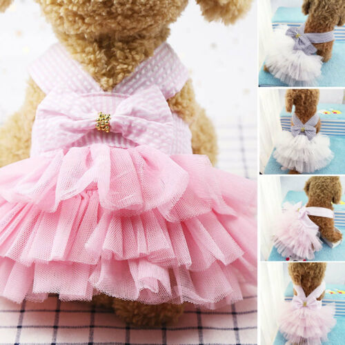 Summer Dog Lace Tullle Dress Pet Dog Clothes For Small Dog Party Birthday Wedding Bowknot Dress Puppy Costume Spring Pet Clothes in Dog Dresses from Home Garden