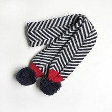 Шарф унисекс с двойными шариками, Детские Зимние теплые шарфы в полоску, вязаный шарф для мальчиков и девочек из смешанной шерсти
