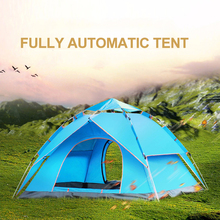 Outdoor Awning Tents Rainproof Anti-Mosquito Family Camping Hiking Throw Tent Automatic Pop-Up Double-Deck Tent 3-4 Person