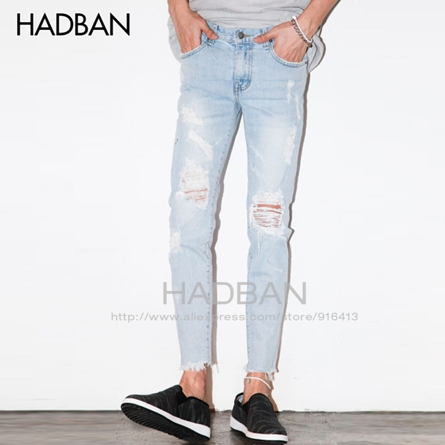 776d1f577c3 2017 Spring and Summer New Men s Jeans Pants Korean Style Light Blue Skinny  Hole Jeans Men Casual Ripped Jeans For Men Hot Sale