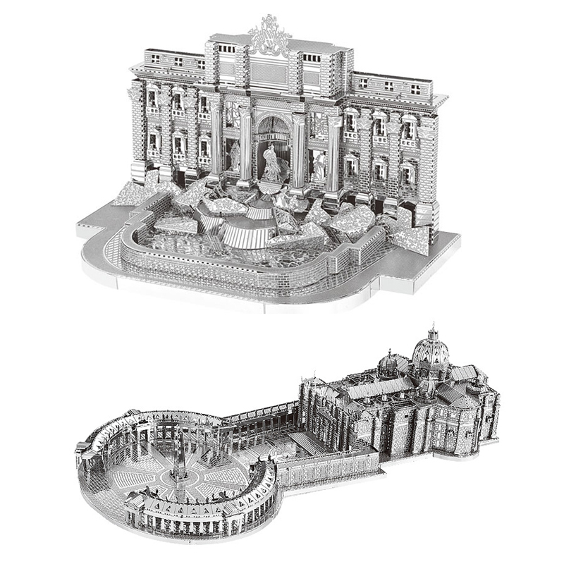 2pc Set Nanyuan 3D Metal Puzzle Trevi Fountain And St Peter's Basilica Building Model DIY Laser Cut Assemble Jigsaw Puzzle Toys