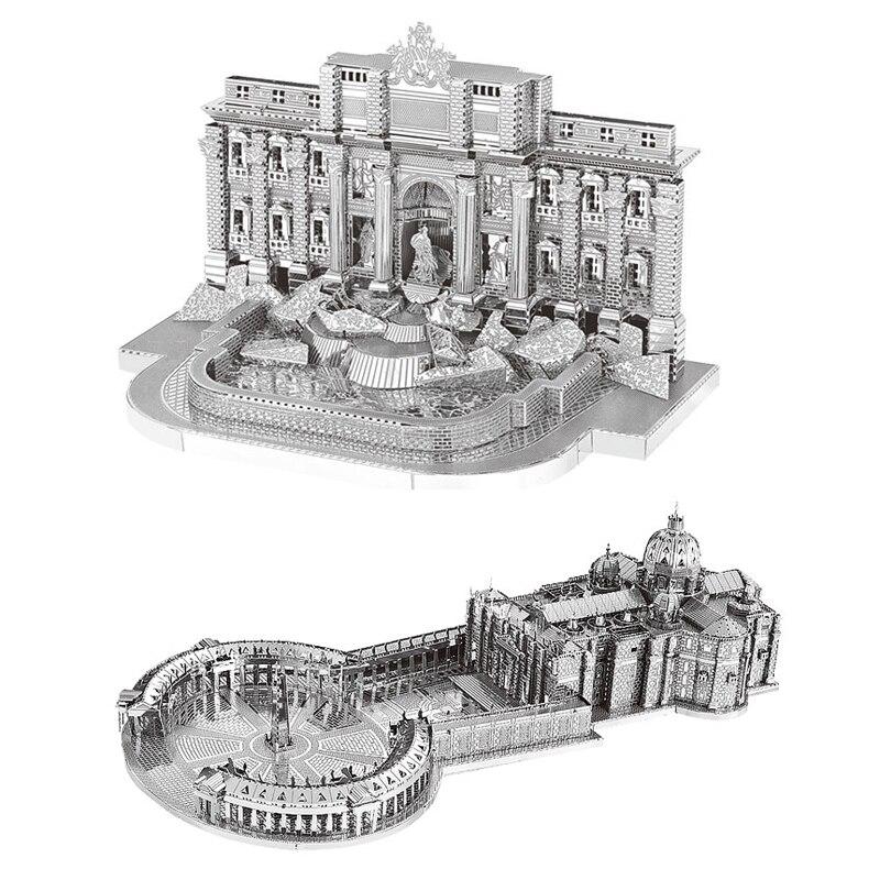 2pc Set Nanyuan 3D Metal Puzzle Trevi Fountain And St Peter's Basilica Building Model DIY Laser Cut Assemble Jigsaw Puzzle Toys