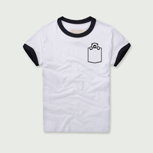 5b74a0758592f5 Funny T-shirt Women short-sleeved Tees Stitching color O-neck Casual Tops
