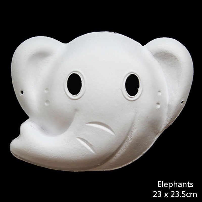 Unpainted DIY Paper Party Masks Kid Women Men Face Various Animal Lion Fox  Elephant Mask Halloween Birthday