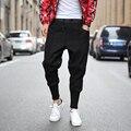 Moda homens cair calças virilha harem pants soltas estilo tornozelo-comprimento hip hop calças dos homens macho preto patchwork streetwear calça casual