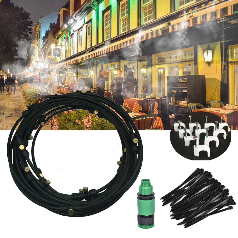 Outdoor Drip irrigation Misting Cooling System Kit for Greenhouse Garden Patio Waterring Irrigation Mister Line 5M-20M System