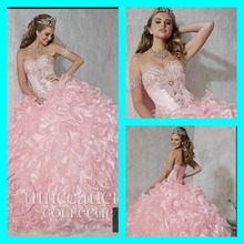 2015 best selling beading ball gown with cascaded ruffle pink strapless sweetheart shiny long quinceanera gowns