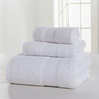 3 Pcs Towel Set 100 Cotton 12 Color Grey White Brown Pure Solid Color Soft Home