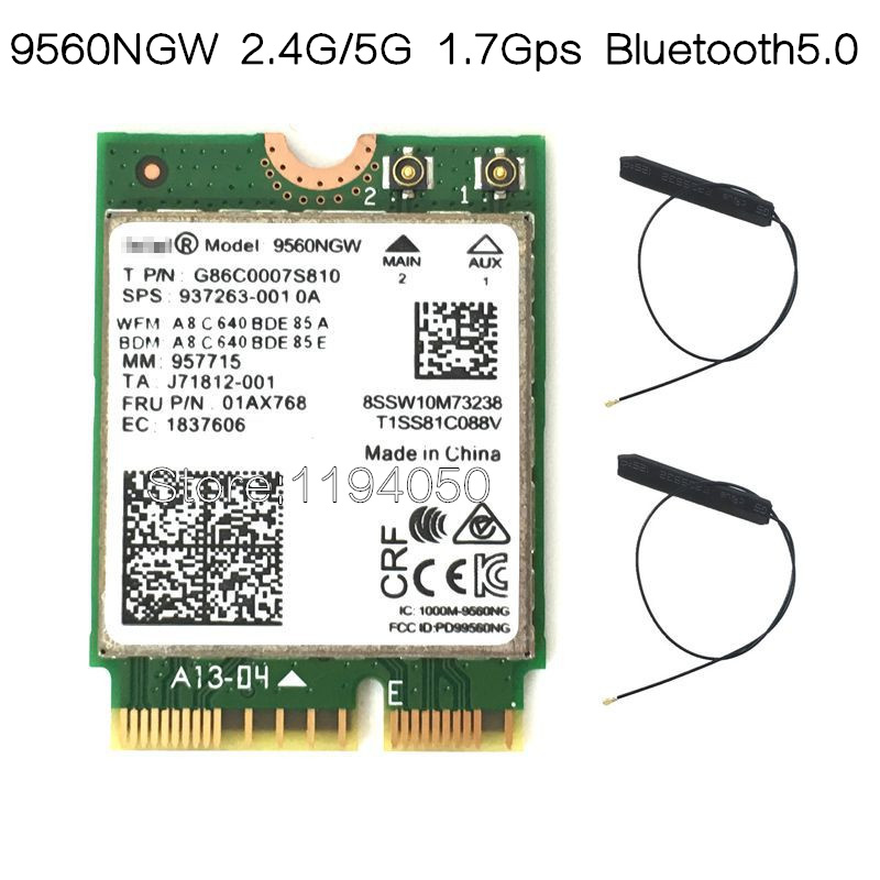 New Dual-Band Wireless AC 9560 for Intel 9560ngw 802.11ac NGFF 2.4G / 5G 2x2 Wi-Fi Card Bluetooth 5.0 NGFF /M.2 new for intel dual band wireless n 7265 7265ngw 802 11n 2 x 2 wifi 300mbps ngff m 2 card 7265nb 2 4g 5g