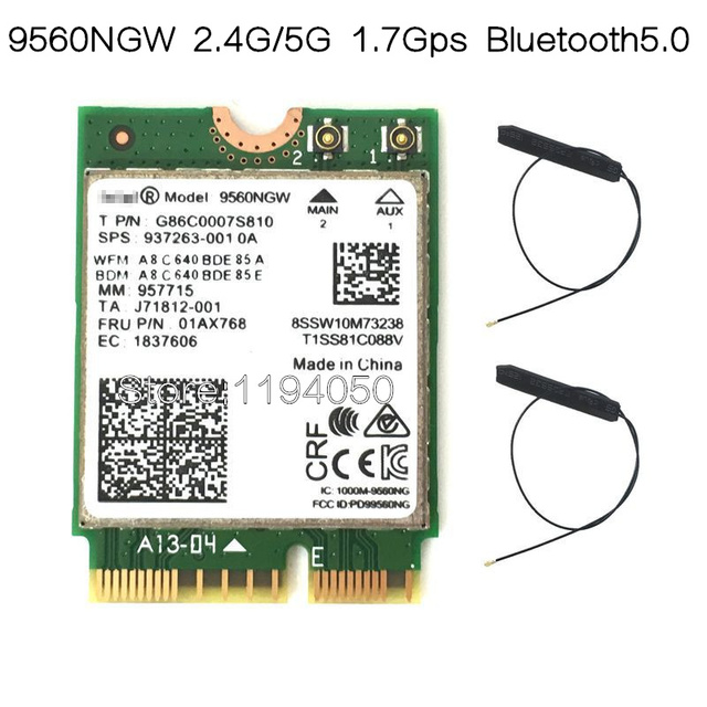 Nuovo Dual Band Wireless AC 9560 per Intel 9560ngw 802.11ac NGFF 2.4G/5G 2x2 wi fi Scheda Bluetooth 5.0 NGFF/M.2