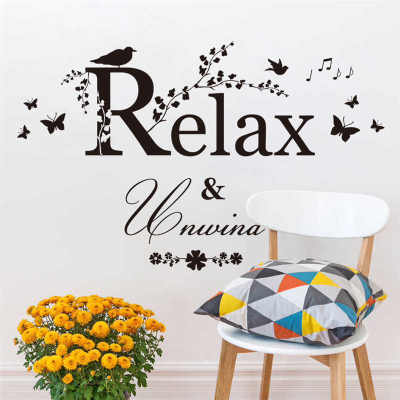 relax unwind quote bird butterfly tree branch flower home decal wall sticker black color study work room decor wallpaperin wall stickers from home u0026 garden