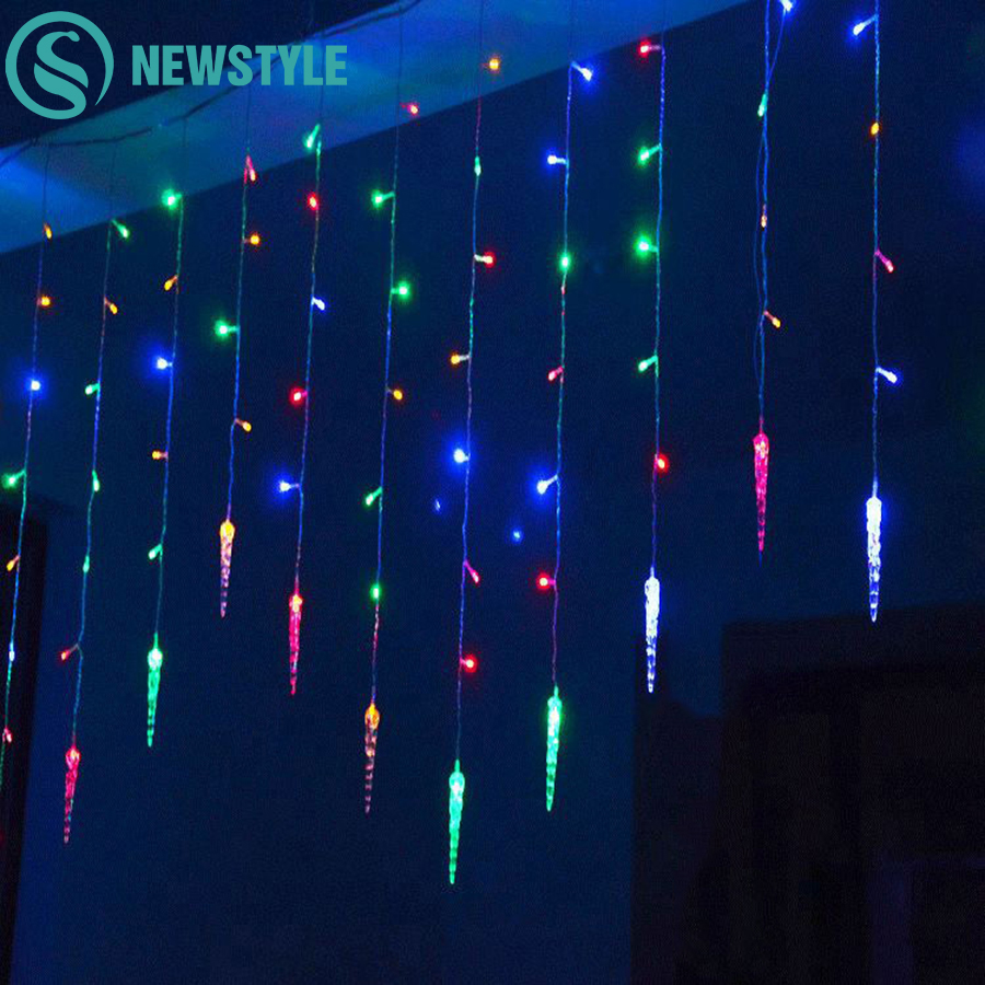 Holiday Lighting 3.5M 96 LED Icicle Home Xmas Decoration Christmas Lights Outdoor Waterproof Fairy Curtain String Lights