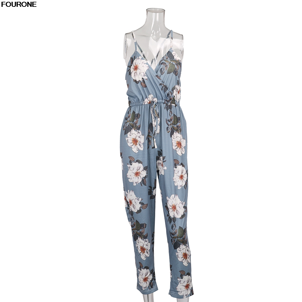 Flower Print Long Rompers Womens Jumpsuit Sexy V Neck Straight Overalls Sashes Playsuit ...