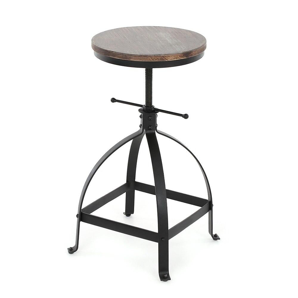 iKayaa Industrial Style Bar Stool Adjustable Height Swivel Kitchen Dining Breakfast Chair Natural Pinewood Top Bar Stool
