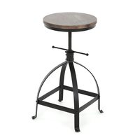 iKayaa Industrial Style Bar Stool Adjustable Height Swivel Kitchen Dining Breakfast Chair Natural Pinewood Top Bar Stool