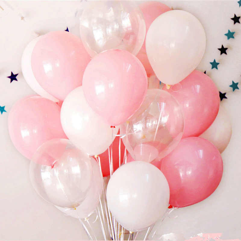 12pcs 2.3g Pink White 2.8g Transparent Balloons Latex Helium Happy Birthday Party Supplies Baby Shower Wedding Decro Balloons