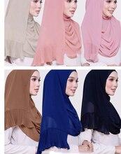 Женский простой шифоновый шарф в стиле пэчворк, складчатый хиджаб, однотонный яркий популярный хиджаб, мусульманские шарфы/шарфы 50 шт./лот