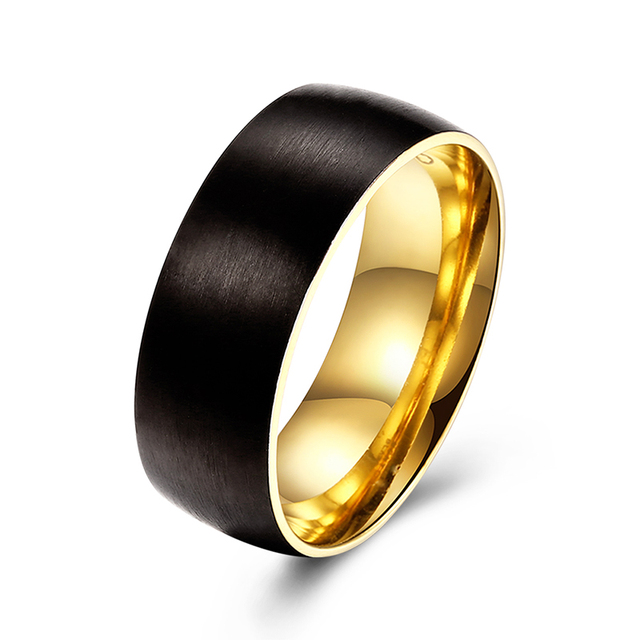 8MM Black Gold Color Wedding Band Stainless Steel For Boy And Girl