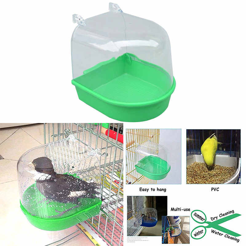 Bird Bath Bathtub Box Bird Cleaning Tool Cage Accessories Parrot Bath Transparent Plastic Hanging Tub Shower Bird Supplies