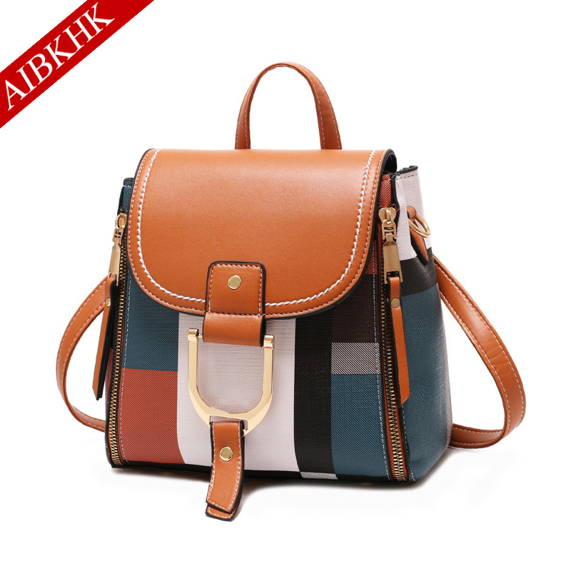 Plaid Women Small Backpack High Quality Youth Leather Backpacks for Teenager Girls School Shoulder Bag Bagpack Women mochila in Backpacks from Luggage Bags