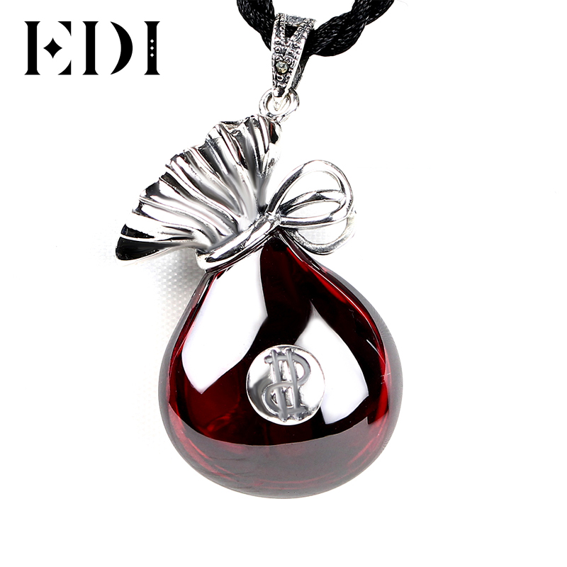Woman/Men 925 Sterling Thai Silver Red Garnet Purse Pendant Necklaces Lucky $ Bag Chalcedony Statement Necklace For Women