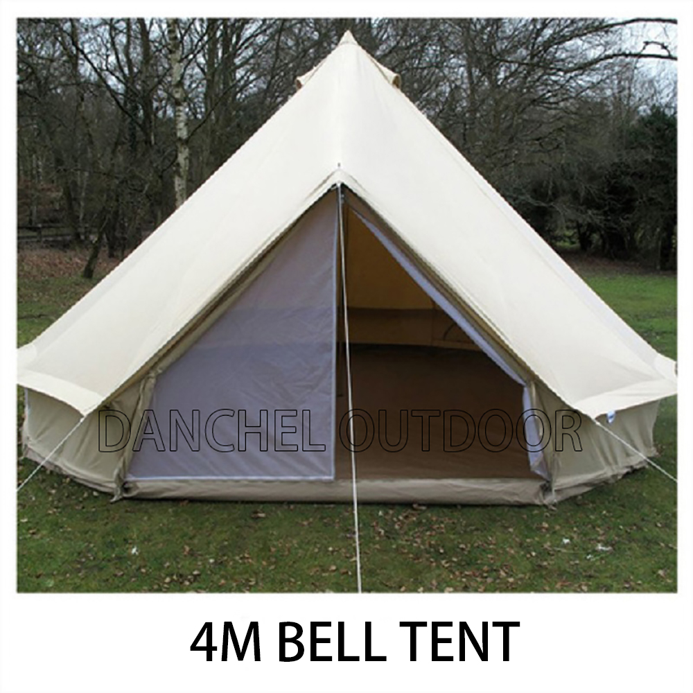 danchel 4m meter 13 feet diameter canvas bell tent outdoor all season sun shade travel. Black Bedroom Furniture Sets. Home Design Ideas