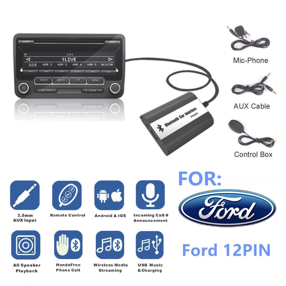 For Ford 12 PIN Focus Galaxy Ka Mondeo C Max Interface Bluetooth A2DP Car MP3 Adapter