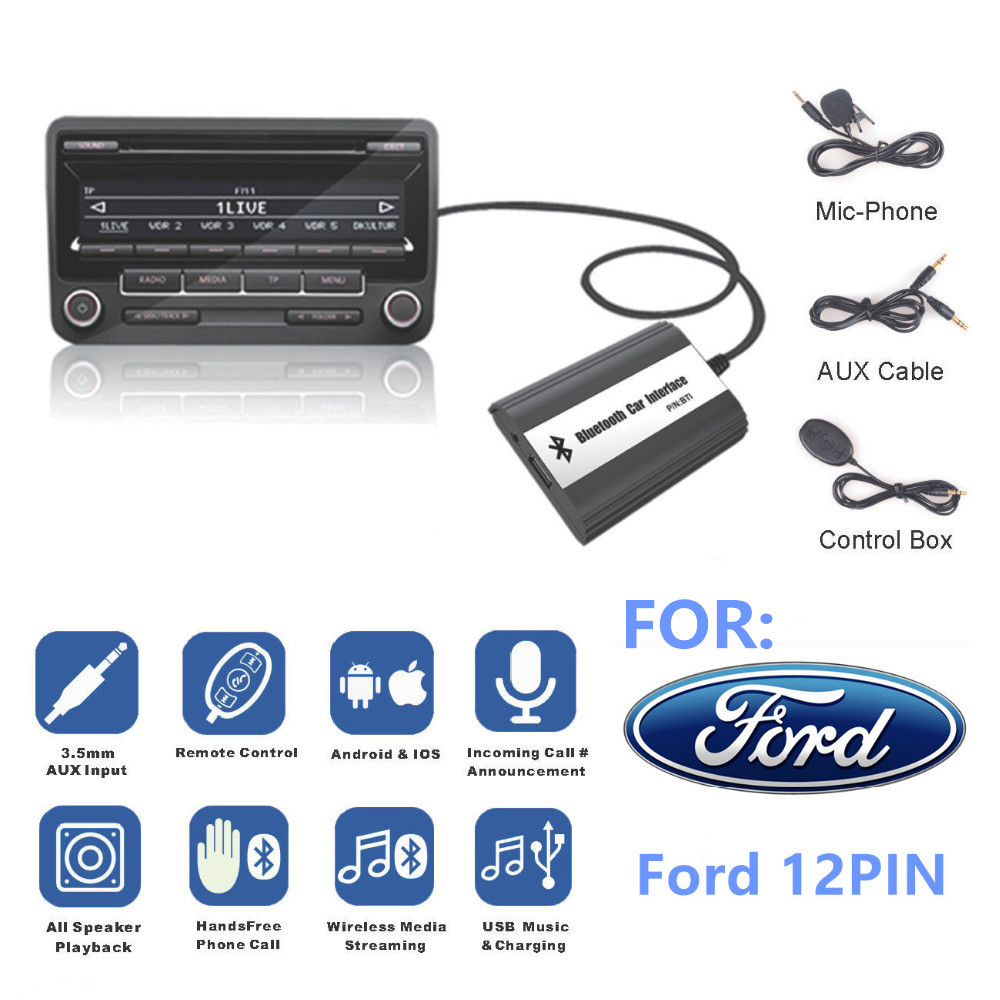 Pour Ford 12 BROCHES Focus Galaxy Ka Mondeo C-max Interface Bluetooth A2DP Voiture MP3 Adaptateur AUXILIAIRE USB Musique recharge Kit Mains Libres