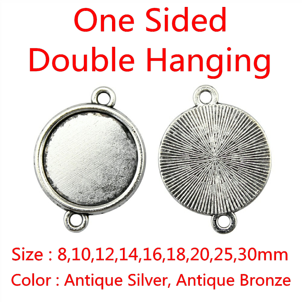20pcs Fit 8/10/12/14/16/18/20/25/30mm One Sided Double Hanging Classical Zinc Alloy Cameo Cabochon Base Setting For DIY mibrow 10pcs lot stainless steel 8 10 12 14 16 18 20mm blank french lever earring tray cabochon setting cameo base jewelry
