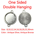 20pcs Fit 8/10/12/14/16/18/20/25/30mm One Sided Double Hanging Classical Zinc Alloy Cameo Cabochon Base Setting For DIY