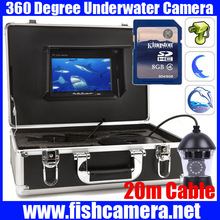 20m cable PTZ 360 Rotatable fish Underwater Monitor camera system with 8GB SD card DVR freeship
