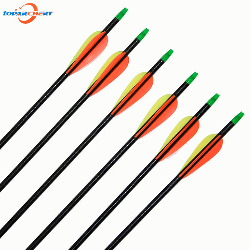 6pcs/pack 32 inch Target Practice Point Fiberglass Arrows for Compound Recurve Bow Hunting Archery Hunter Nocks with 3 Fletch