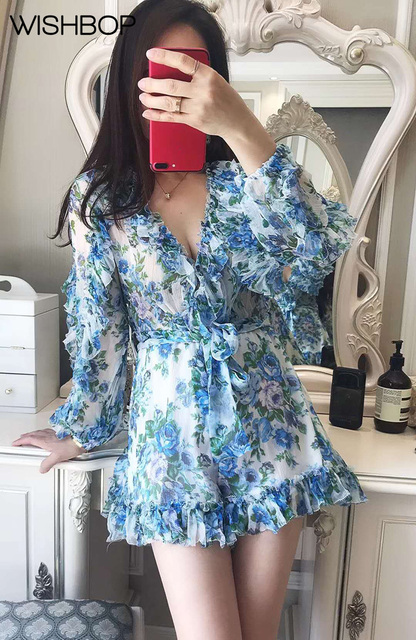 f147b9ea7c4 2018 Luxury Silk Whitewave Ruffle Playsuit - Azure Wallpaper Floral Print  Deep V Neck Jumpsuit Bell