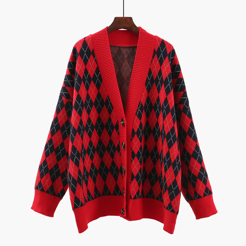 women Loose retro sweater cardigan lattice new spring winter 2018 female all-match sweater thicken knitted coat clothing tops