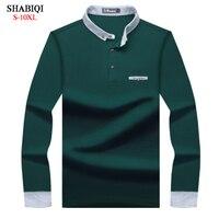 SHABIQI новый бренд Для мужчин рубашка Для мужчин рубашки поло Для мужчин Стенд ошейник с длинным рукавом Теплые Поло рубашка плюс Размеры 6XL 7XL ...