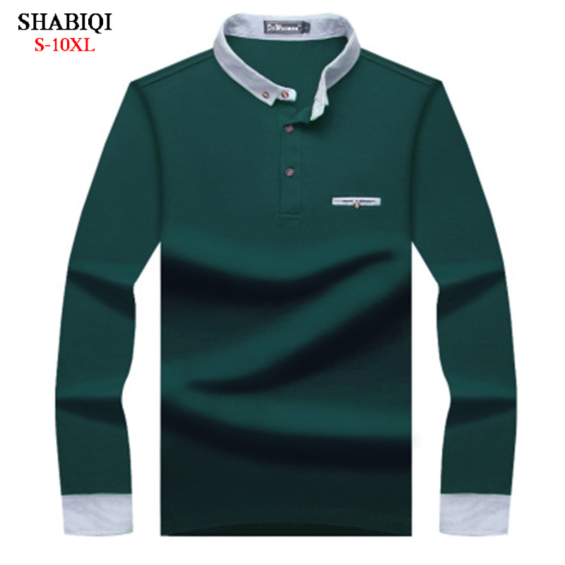 SHABIQI New Brand Men shirt Men   Polo   Shirt Men Stand collar Long Sleeve Keep warm   Polos   Shirt Plus Size 6XL 7XL 8XL 9XL 10XL