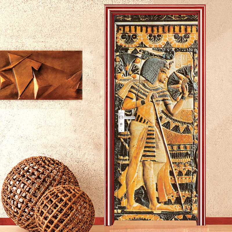 Home Decor Door Sticker European Style Retro 3D Relief Egyptian Pharaoh Statue Portrait Wallpaper PVC Self-Adhesive Door Decals